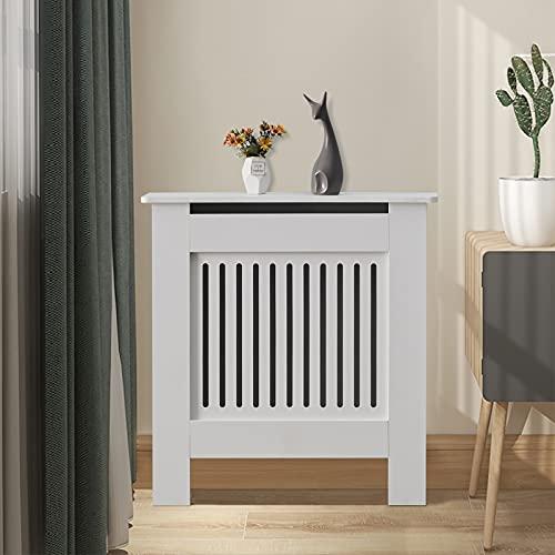 CLIPOP Radiator Cover White Modern Painted Vertical Slatted MDF Cabinet, Radiator Shelve for Living Room Bedroom Furniture (Small)