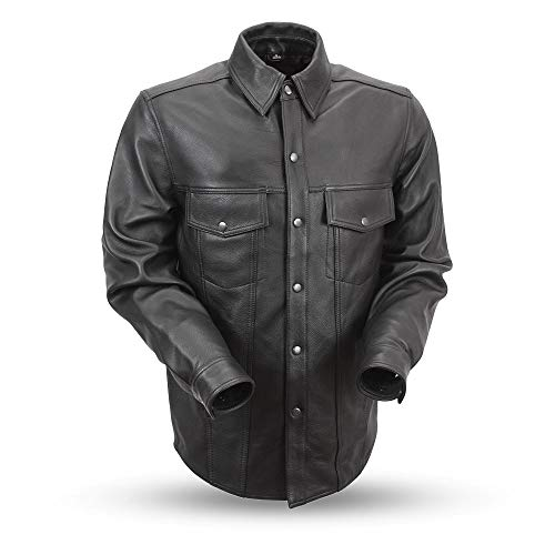 Mens Motorcycle Black Leather Shirt