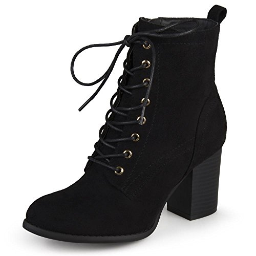 Journee Collection Womens Stacked Heel Lace-up Booties Black, 8.5 Regular US