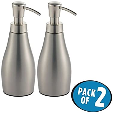 mDesign Liquid Hand Soap Dispenser Pump Bottle for Kitchen, Bathroom | Also Can be Used for Hand Lotion & Essential Oils - Pack of 2, Brushed Stainless Steel