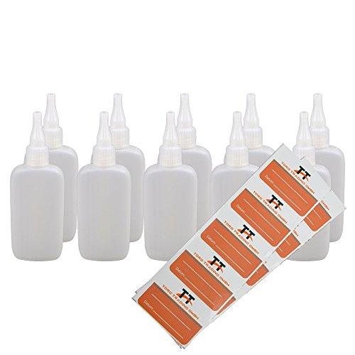 Ovale Liquid-Flaschen 10 x 100ml - Flachmann, Kunststoffflaschen aus weichem PE inkl. 10 Etiketten (weiß/transparent) - Liquid Flasche - Tropfflaschen,Dosierflaschen,Dropper Flaschen,Quetschflaschen