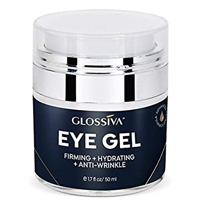 Glossiva Eye Gel, Hyaluronic acid for Wrinkles, Fine Lines, Dark Circles, Puffiness, Bags - Hydrating, Firming, Rejuvenates Skin - Advanced Repair Formula 1.7 Fl Oz
