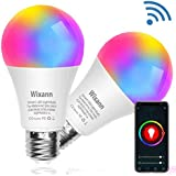 Wixann Smart LED Bulb WiFi Smart Multicolor Light Bulb Compatible with Alexa Google Home Siri (No Hub Required) Dimmable 2.4G 7W, A19 60W Equivalent E26-2pack