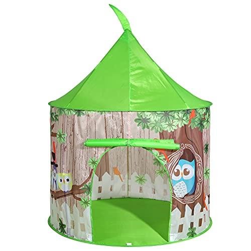 SOKA Spielzelt, grün, Pop-Up-Eule, Baumhaus, für drinnen und draußen, Garten, Spielhaus, Zelt für Kinder