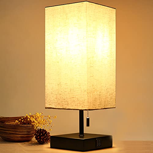 HOKEKI Bedside Table Lamp, with 2 Useful USB Ports, Black Charger Base with Beige Fabric Shade,...