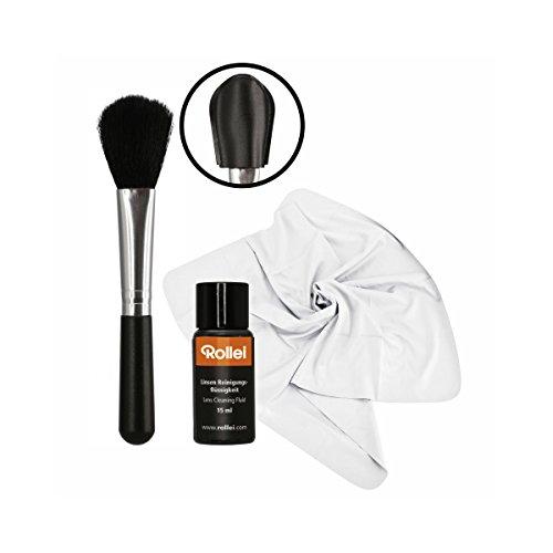 Rollei Linsen Reinigungs Set - zur professionellen Nassreinigung von Objektiven, Linsen, Filtern und Displays - mit Pinsel und Reinigungsflüssigkeit