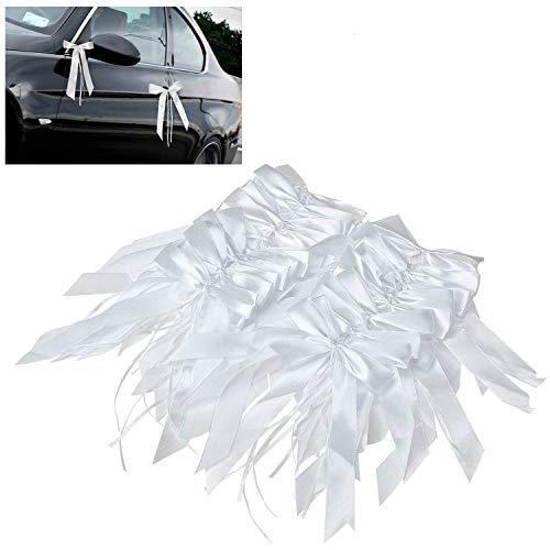 Willlingood 100 Stück Antennenschleifen Autoschleifen Autoschmuck Dekoration für Hochzeit [Weiß]