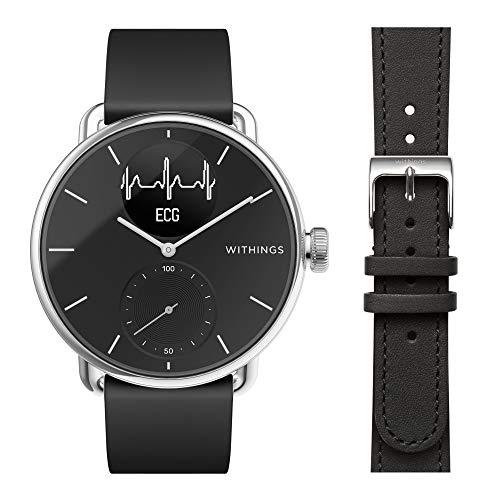 Withings ScanWatch - Reloj Inteligente híbrido con ECG, tensiómetro y oxímetro, 38 mm, Color Negro + Correa para Steel, 36 mm, Negro
