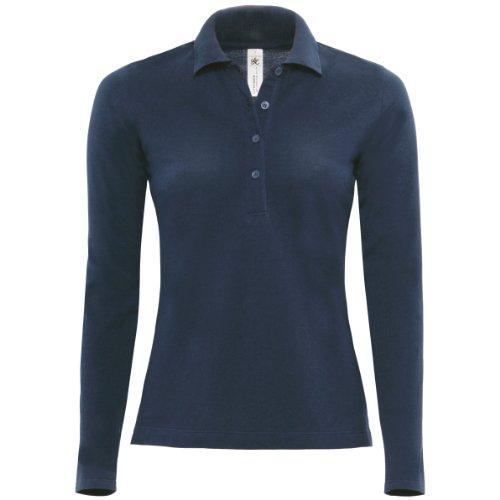 B&C Damen Womens Safran Pure Long Sleeve Polo Poloshirt, Blau (Navy 000), 38 (Herstellergröße: Medium)