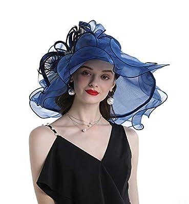Women's Organza Chruch Tea Party Hats Ladies Kentucky Derby Fascinator Hats for Bridal Wedding Sun Hats