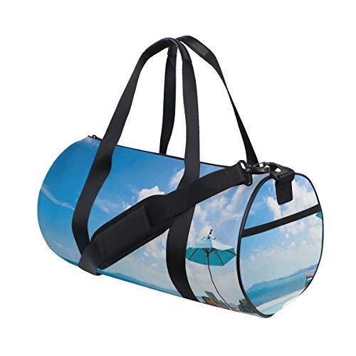 PONIKUCY Sporttasche Reisetasche,Strandkorb mit Sonnenschirm auf privatem Pool Meerblick Urlaub,Schultergurt Handgepäck für Übernachtung Reisen