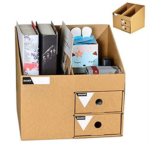 Caja de almacenamiento de escritorio, organizador de archivos, organizador de cajones, montaje de papel kraft, adecuado para libros, papelería, auriculares