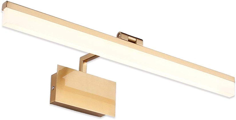 T-TWJQ Goldenes Spiegelkabinettlicht führte Badezimmerfeuchtigkeitsfeste Spiegelscheinwerferbad Eitelkeitsspiegellicht, warmes Licht, 42cm9W