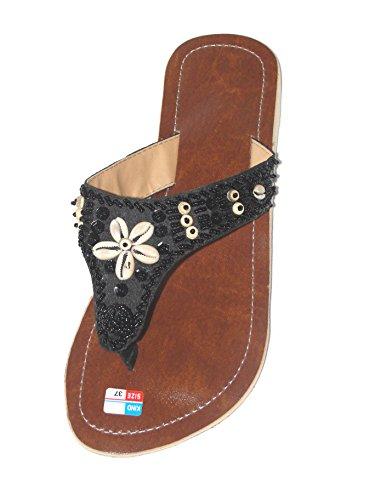 Damen Flip Sandale Fairy Shell Zehentrenner Zehenpantolette Sommersandale Zehenstegsandale mit Perlen Muscheln und Pailletten in Creme-weiß und schwarz