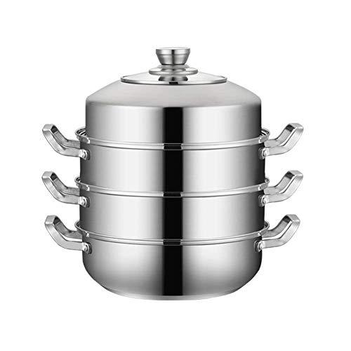 GJP Vaporizador de Placa de inducción de Acero Inoxidable 304 de 3 Niveles con Tapa de Vidrio Juego de ollas y sartenes-3 capas-30CM