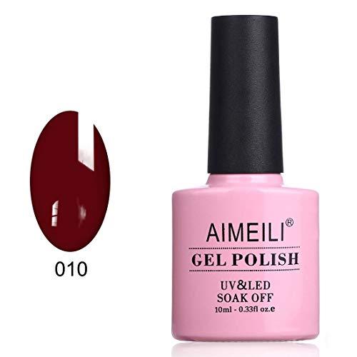 AIMEILI Vernis Semi-Permanent Rouge foncé Soak Off UV LED Vernis à Ongles Gel Polish - Dark Red Vixen (010) 10ml