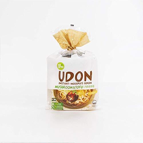 Allgroo Udon Instantnudeln - Tofu und Pilze, Udon Suppe würzig, aromatisch, schnelle Zubereitung - enthält 3 Portionen - 1 x 690 g