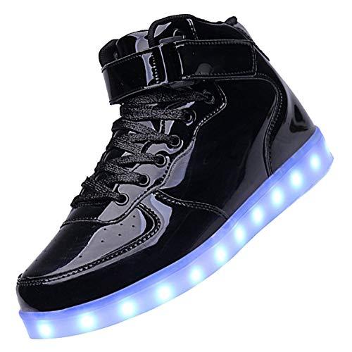 KEALUX Brillante Notte USB Caricare 7 Colori Allacciare Accendere LED Scarpe Alto Top Sneaker di Sport con Telecomando per Bambini Ragazzi Ragazze-35(Black)