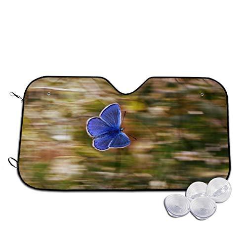 Rterss Windschutzscheibe, Schmetterling, blaue Flügel, Insekten-Natur, personalisierbar, Sonnenblende für die Frontscheibe, Glas, verhindert das Aufwärmen des Autos im Inneren Gr. 85, weiß