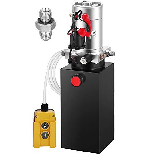 ZauberLu 12V/DC Hydraulikpumpe Einfachwirkend Kipperpumpe Hydraulikaggregat 6L Metallbehältertank Antriebseinrichtung für Auto(6L Einfachwirkend Metallbehälter)