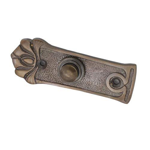 Antik Türklingel, A9131, aus Messing, dunkel patiniert, mit Klingelplatte und Klingeltaster - handgefertigt nach antiken Vorlagen