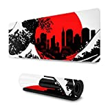 Japanese City Skyline Gaming Mouse Pad XL, Extended Large Mouse Mat Desk Pad, Stitched Edges Mousepad, Long Non-Slip Rubber Base Mice Pad, 31.5 X 11.8 Inch