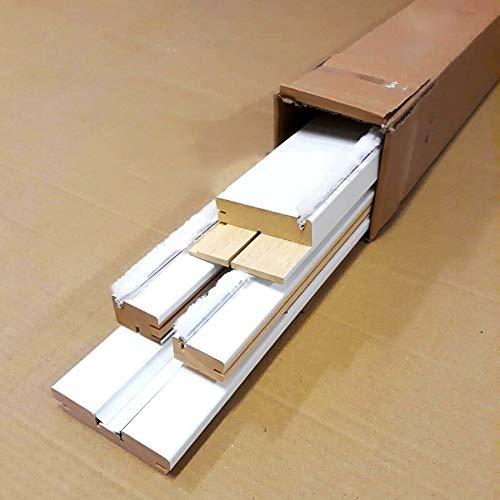 Kit de marco de puerta corredera desplegable de cristal blanco con cubrecables.