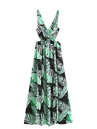Floerns Women Sexy Sleeveless V-Neck Split Summer Beach Floral Print Maxi Dress Green A XXL