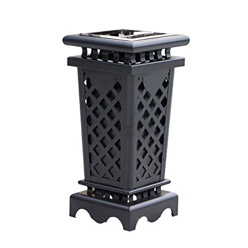 Great Features Of JHEY Outdoor Dustbins European Retro Iron Outdoor Dustbins with Ashtray Trash Can ...