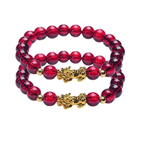 2 pulseras de adelgazamiento con granate, triple protección, perlas de 8 mm, trae suerte y prosperidad, reduce el estrés, yoga, reiki, potenciador de metabolismo y reducción de la hinchazón