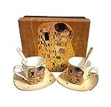 Gustav Klimt Der Kuss - Juego de tazas de café (6 unidades, porcelana), color crema