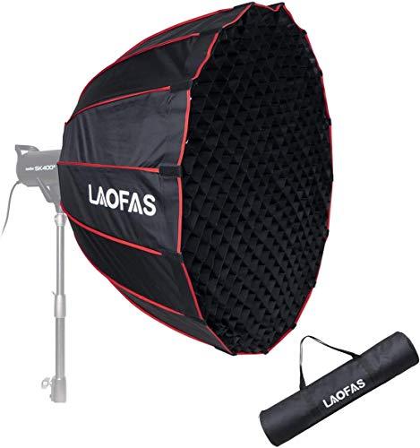LAOFAS D120B Deep Parabolic Softbox mit Bowens-Halterung, schnelles Einklappen in Einer Minute, für Aputure 300D II 300X 120DII 300DII GODOX SL60W VL150...