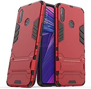 For Oppo Realme 3 pro Iorn Man Hard PC Soft rubber liner Rugged Kickstand cover Armor Shockproof Case - Red