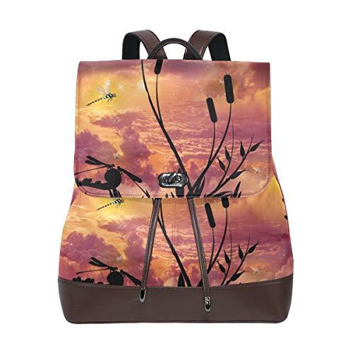 Libellen Twilight Sky Atmosphere Rucksack Geldbörse Fashion PU Leder Rucksack Casual Rucksack für Frauen