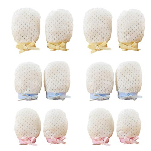 Supvox 6 Paare Baby Handschuhe Neugeborene Anti Kratz Fäustlinge Einstellbar Kratzhandschuhe Nette Kratzfäustlinge Baumwollhandschuhe für Infant Säugling Jungen Mädchen