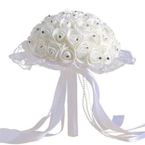 TIREOW Blumenstrauß Romantische Hochzeit Bunte Künstliche Hochzeitsstrauß Rosen Seidenblumen Kunstblumen Blumen Brautstrauß der Braut (E)