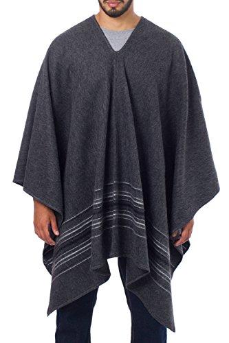 NOVICA Grey Striped Men's Alpaca Blend Poncho, Gray Nazca'