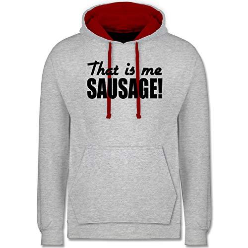 Sprüche Statement mit Spruch - That is me Sausage! - schwarz - S - Grau meliert/Rot - Statement - JH003 - Hoodie zweifarbig und Kapuzenpullover für Herren und Damen