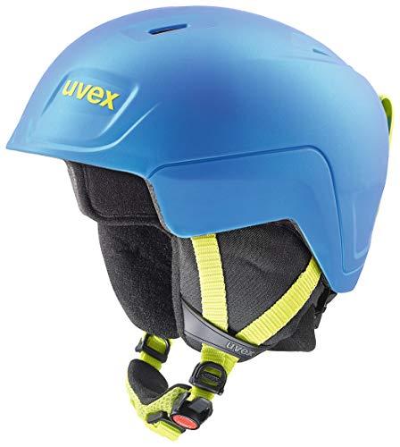 Uvex Kinder Manic Pro Skihelm, Blue-Lime met mat, 51-55 cm