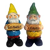 6.5 Inch Go Away Gnome Leave Anti Social Garden Gnomes Cement Figures - Set of Two
