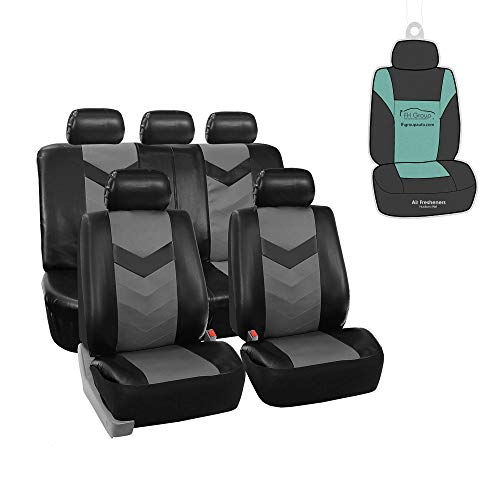 FH Group PU021115 Faux Leather Seat Cover (Gray) Full Set with Gift - Universal Fit for Trucks, SUVs, and Vans