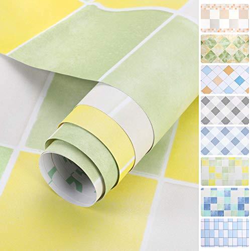 iKINLO Fliesen Klebefolie selbstklebend Küchenrückwand Folie Matt Küchenfolie PVC wasserfest DIY Dekofolie Fliesenaufkleber für Küchen Bädern Wand 0.61 * 5M