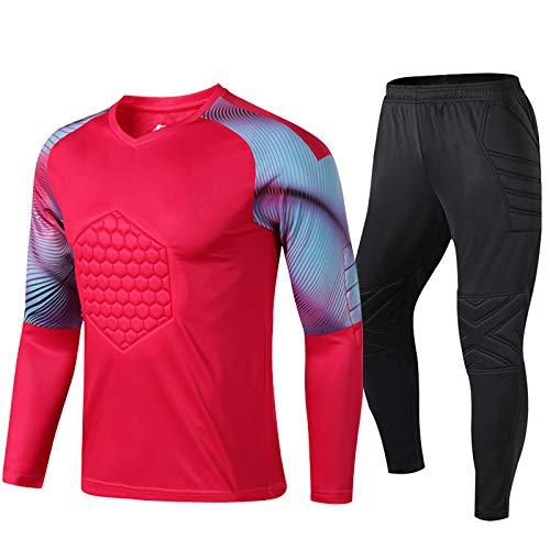 WHZDQ Jersey de Uniforme de Portero Traje de protección anticolisión de Portero con Textura en Bloques de Color Camiseta y Pantalones de fútbol Regalos navideños para Adultos y niños,Red,XL