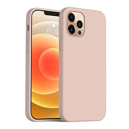Anyos Compatible with iPhone 12 Case and iPhone 12 Pro Case 6.1 inch, Liquid Silicone Rubber Full Body Protective Phone Case with Soft Microfiber Cloth Lining for Women Men Girls Boys, Sand Pink