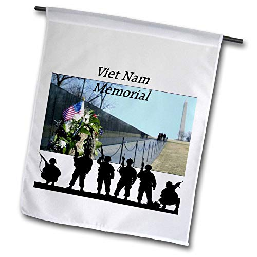 3dRose Lens Art by Florene - Memorial Day - Image of Viet NAM Memorial with Silhouette Soldiers - 12 x 18 inch Garden Flag (fl_309798_1)