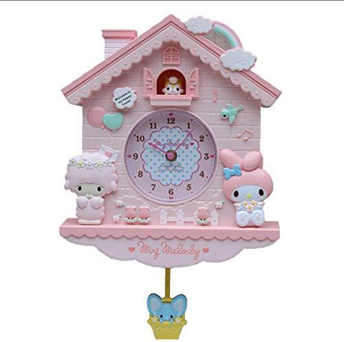 Huanxidp Wall Clocks Cartoon My Melody Swing Kids Girls Wall Quartz Clock Home Decro for Bedroom Liveroom Products 12 Inch