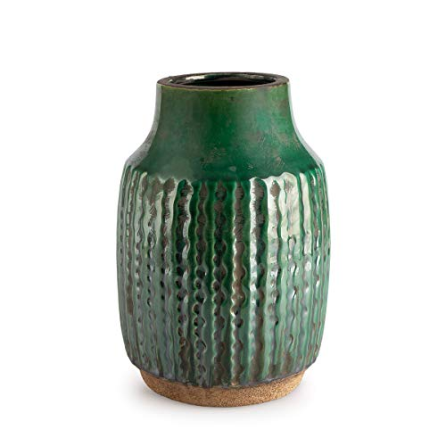 Black Velvet Studio Decorativo Vaso in Ceramica di Colore Verde - Moderno Vaso Vintage per la casa Ufficio Sala conferenze con Incisione Etnici Modello Alpes 23 * 14 * 14 cm.