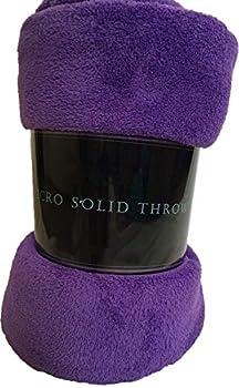 Goldenlinens Ultra Soft Cozy Plush Fleece Warm Solid Colors Traveling Throw Blanket 50  X 60   127 cm X 152 cm   Purple