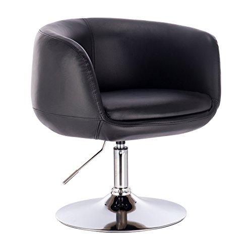 WOLTU® BH78sz 1 x Barsessel Loungesessel mit Armlehne, stufenlose Höhenverstellung, Kunstleder, Schwarz