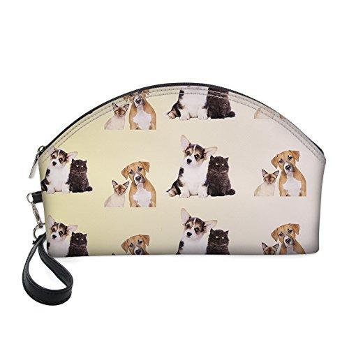 Grand sac de maquillage, motif Cute Dessin animé de chat Cosmétique Pochette Organiseur de voyage par Nopersonality beige dog2